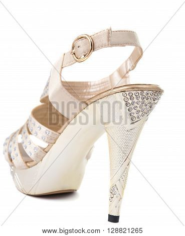 woman shoe in white background, stiletto,photo,, womanish,