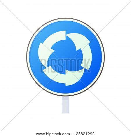 Blue round road sign with white arrows icon in cartoon style on a white background