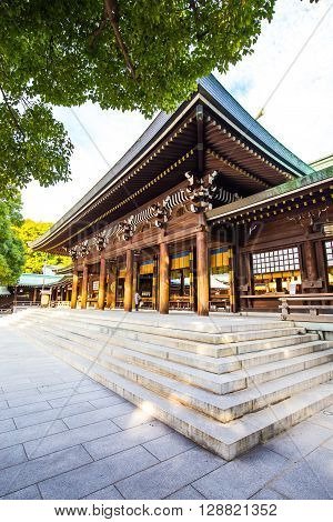 Tokyo Japan - February 16 2015: Meiji Shrine located in Shibuya Tokyo is the Shinto shrine that is dedicated to the deified spirits of Emperor Meiji and his wife Empress Shoken.
