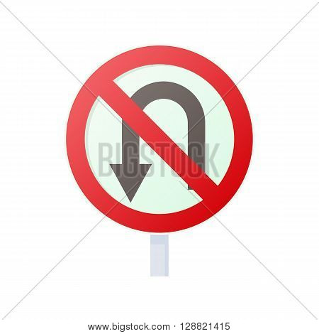 No U turn road sign icon in cartoon style on a white background