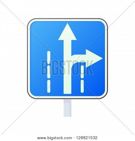 Warning traffic sign drive straight or right icon in cartoon style on a white background