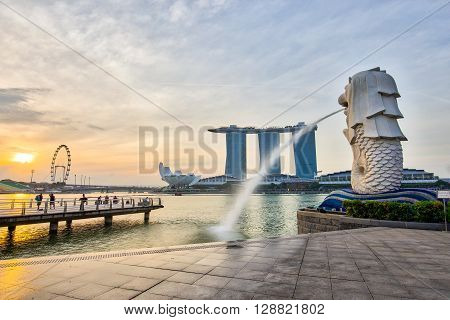Singapore City, Singapore - July 18, 2015: The Singapore Merlion and skyline of city center.