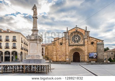 AVILA,SPAIN - APRIL 23,2016 -Church San Pedro at the Santa Teresa place in Avila . Avila is a Spanish town located in the autonomous community of Castile and Leon .