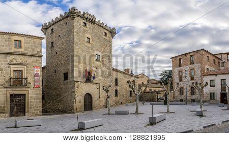 AVILA,SPAIN - APRIL 23,2016 -Place Corral de Las Campanas in Avila. Avila is a Spanish town located in the autonomous community of Castile and Leon .