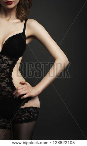 Part Of Body Woman In Black Lingerie Studio Shot