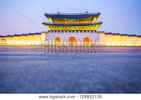Night at Gyeongbokgung Palace in Seoul South Korea.