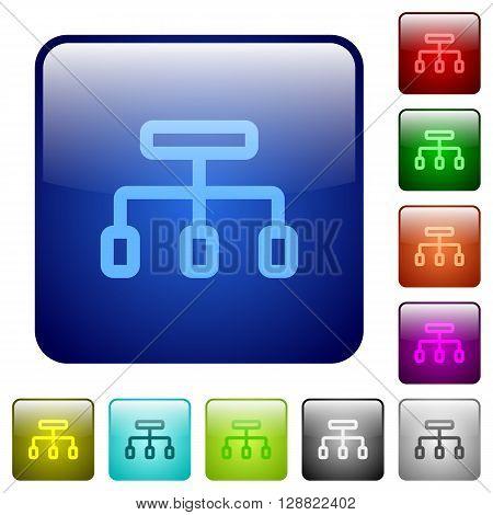 Set of color connect glass web buttons.
