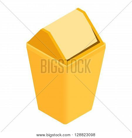Yellow trash plastic can with lid icon in isometric 3d style on a white background