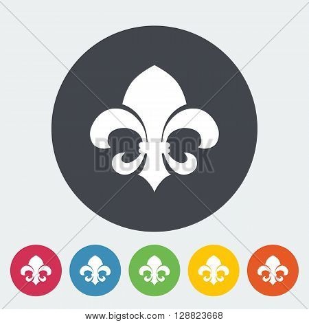 Fleur. Single flat icon on the circle button. Vector illustration.