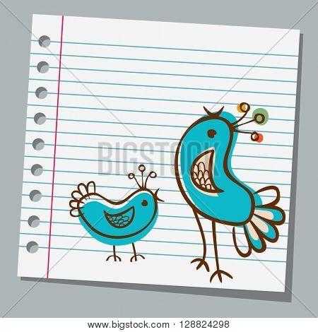 notebook paper cute bird