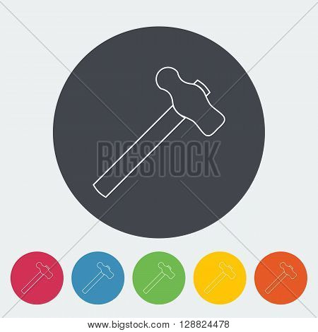 Hammer. Single flat icon on the circle button. Vector illustration.