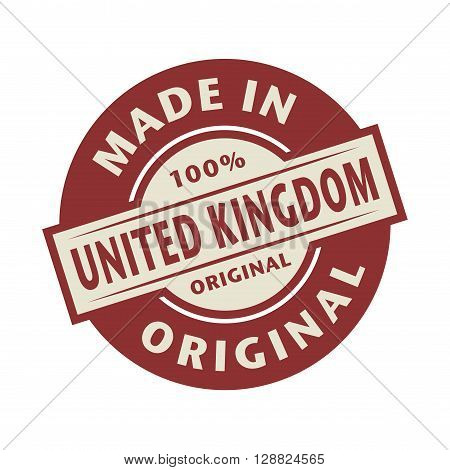 Abstract stamp or label with the text Made in United Kingdom written inside, vector illustration