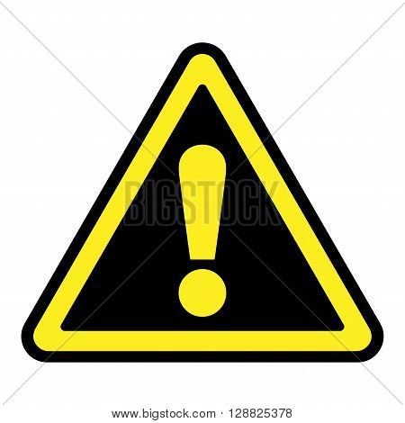 Hazard warning attention sign. Icon in a black triangle with yellow exclamation mark symbol isolated on a white background. Traffic symbol. Stock vector illustration