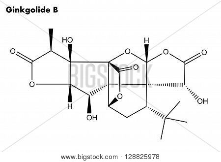 Molecular structure of Ginkgolide B - essential compound extracted from the root bark and leaves of the Ginkgo biloba tree 2D structure used in chinse herbal medicine