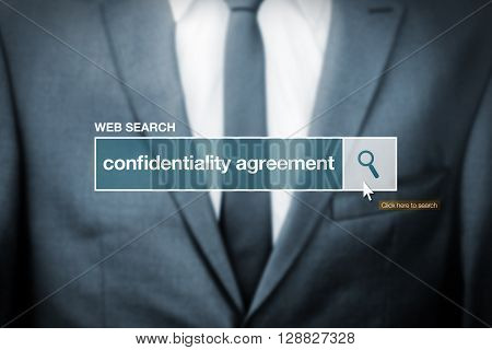 Web search bar glossary term - confidentiality agreement definition in internet glossary.