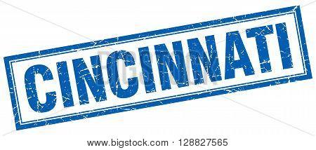 Cincinnati blue square grunge stamp on white