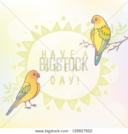 Cute two parrots with sample text. Vector illustration