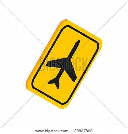 Airport yellow sign icon in isometric 3d style on a white background