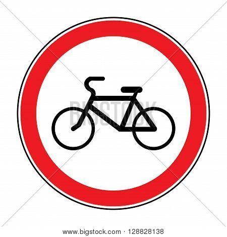 No or Not allowed bicycles symbol. Sign indicating prohibition of passing bicycle rules. Prohibit road icon isolated on white background. No bikes allowed emblem. Stock Vector illustration