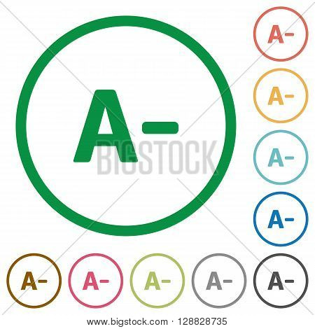 Set of Decrease font size color round outlined flat icons on white background