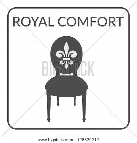 Furniture symbol on a white background. Gray silhouette isolated on a white background. Logo Design for furniture boutique shop store. Service Concept. Chair icon with royal fleur de lis. Flat Style