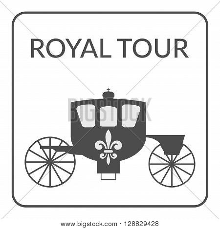 Carriage sign. Tourism and Voyage symbol. Gray silhouette with royal fleur de lis on white background. Logo Design for Tourist firm enterprises company or advertising agency. Service Concept. Vector