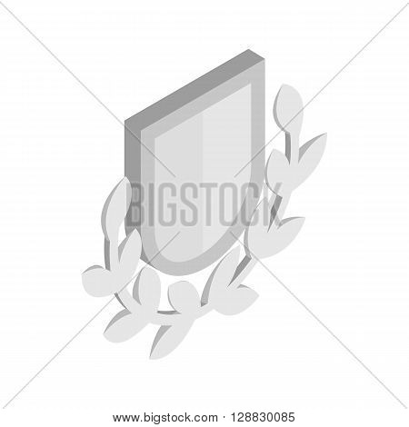 Silver shield with a laurel branch icon in isometric 3d style on a white background