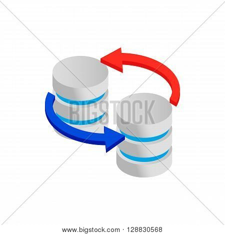 Sync database icon in isometric 3d style on a white background