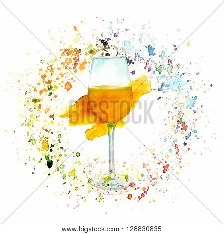 A watercolor illustration with a glass of white wine in a circle of splashed paint of various colors a festive design
