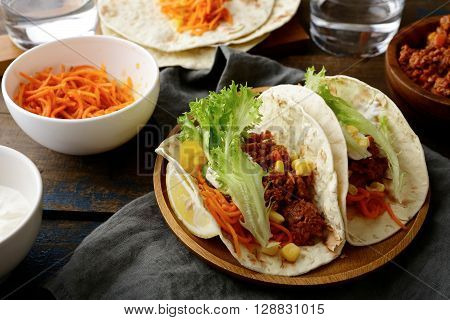 Mexican Food - Tasty Two Tacos With Ground Beef And Vegetables
