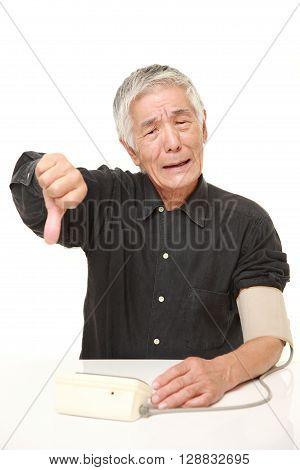 senior Japanese man checking his blood pressure shocked