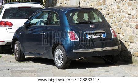 Blue Fiat New 500