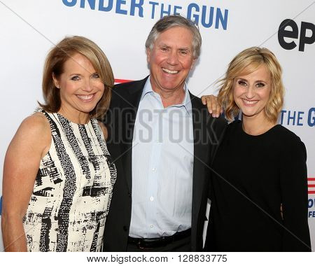 LOS ANGELES - MAY 3:  Katie Couric, Mark Greenberg, Stephanie Soechtig at the Under the Gun Premiere at the Samuel Goldwyn Theater on May 3, 2016 in Beverly Hills, CA