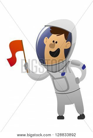 cartoon character cheerful astronaut with a red flag