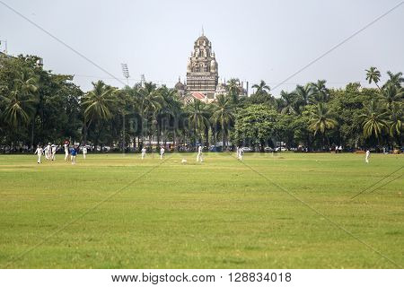 MUMBAI, INDIA - OCTOBER 10, 2015: People playing cricket in the central park at Mumbai India. Cricket is the most popular sport in India. History of cricket in India is based on the existence and development of the British Raj.