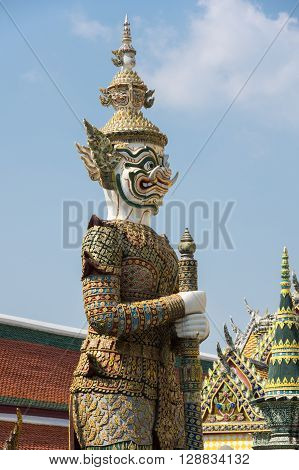 Demon guardian in Wat Phra Kaeo Bangkok. Wat Phra Kaew is one of the most popular tourists destination in Thailand