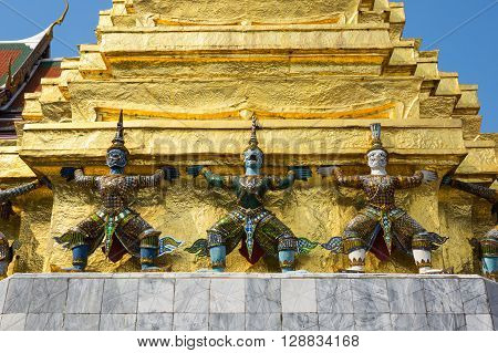 Demon guardians in Wat Phra Kaeo Bangkok. Wat Phra Kaew is one of the most popular tourists destination in Thailand