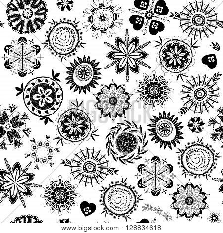 Black and white decorative fantasy flowers. Seamless background pattern. Vector illustration