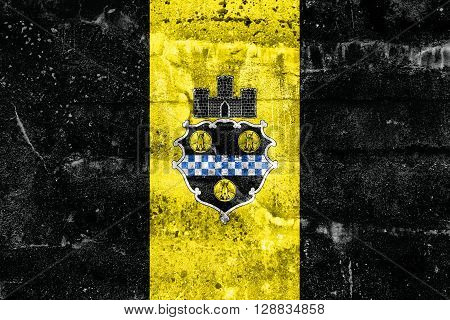 Flag Of Pittsburgh, Pennsylvania, Painted On Dirty Wall. Vintage And Old Look.