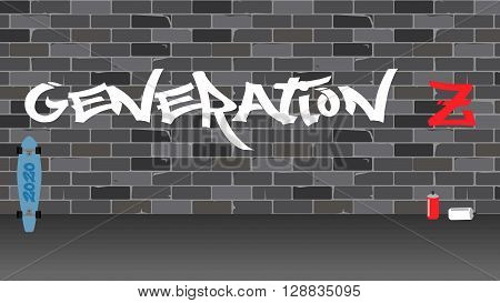 Generation Z illustration.Brick wall with paint word.
