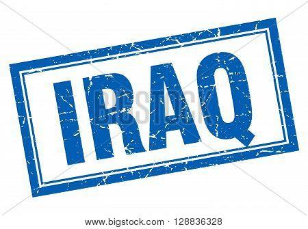 Iraq blue square grunge stamp on white