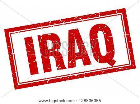 Iraq red square grunge stamp on white