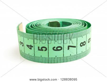 Measuring tape close-up on a white background.