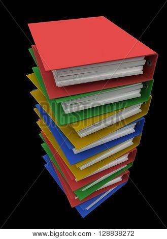Folders for papers on a black background. 3d render.