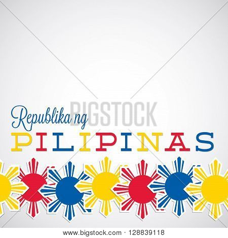 Line Philippine Independence Day Card In Vector Format.