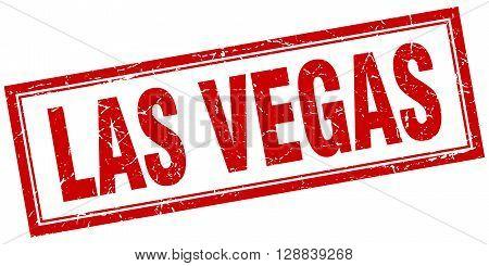 Las Vegas red square grunge stamp on white