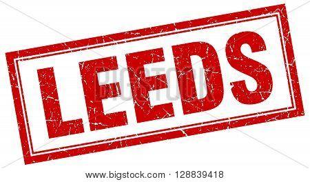 Leeds red square grunge stamp on white