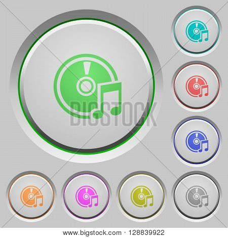 Set of color Audio CD sunk push buttons.