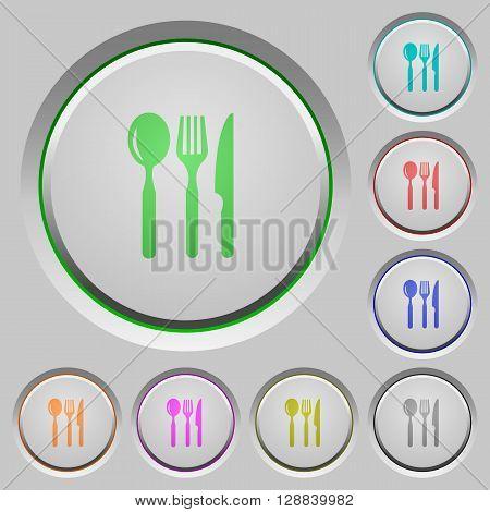 Set of color restaurant sunk push buttons.