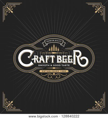 Craft beer sticker label design. Vintage frame template suitable for beer whiskey brandy resort hotel and luxery place. Vector illustration